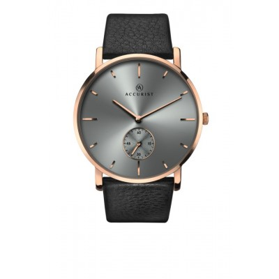 GREY DIAL BLACK LEATHER