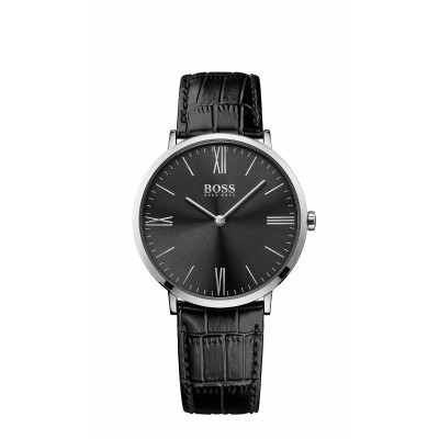 JACKSON BLACK DIAL BLACK LEATHER STRAP