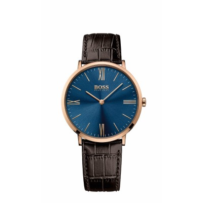 JACKSON ROSE GOLD CASE BLUE DIAL BROWN LEATHER STRAP