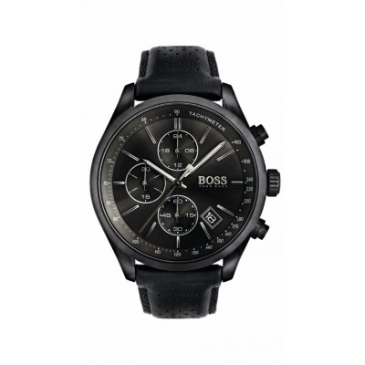 GRAND PRIX BLACK LEATHER STRAP CHRONOGRAPH