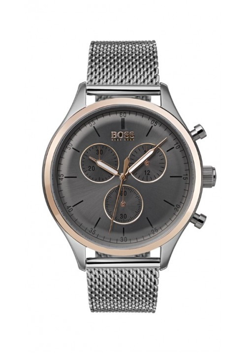 COMPANION GREY AND ROSE GOLD DIAL STAINLESS STEEL BRACELET