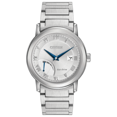 SATIN TEXTURE SILVER COLOURED DIAL STAINLESS STEEL BRACELET WR 100