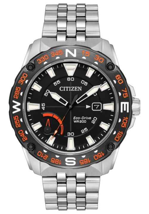 BLACK AND ORANGE DETAIL SPORT WATCH STAINLESS STEEL BRACELET WR 200