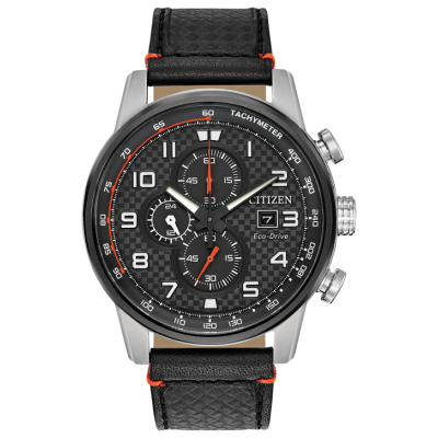 PRIMO CHRONOGRAPH BLACK LEATHER STRAP