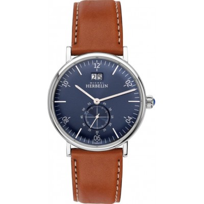 INSPIRATION 1947 STAINLESS STEEL AND LEATHER STRAP WATCH