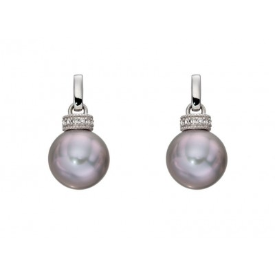GREY PEARL AND DIAMOND, WHITE GOLD RONDELLE EARRINGS