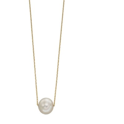 YELLOW GOLD LARGE PEARL NECKLACE