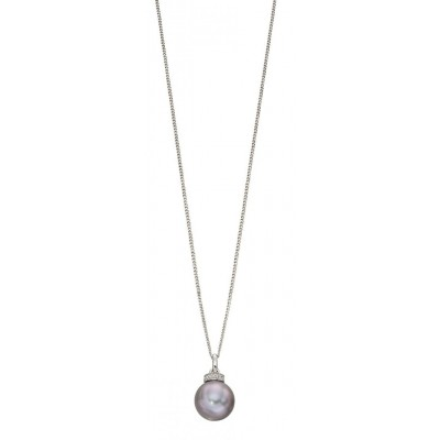GREY PEARL AND DIAMOND, WHITE GOLD RONDELLE PENDANT