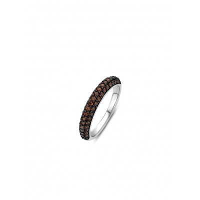 PAVE SET BROWN CRYSTAL RING