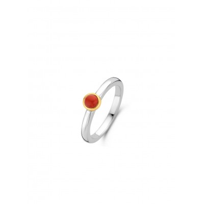 CORAL RED GOLD PLATED RING