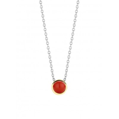 CORAL RED GOLD PLATED PENDANT NECKLACE