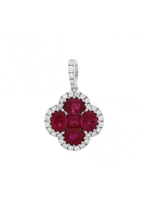 RUBY ROUND AND SQUARE CUT CLUSTER PENDANT