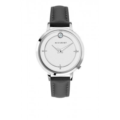 BLACK LEATHER PURE BRILLIANCE WATCH