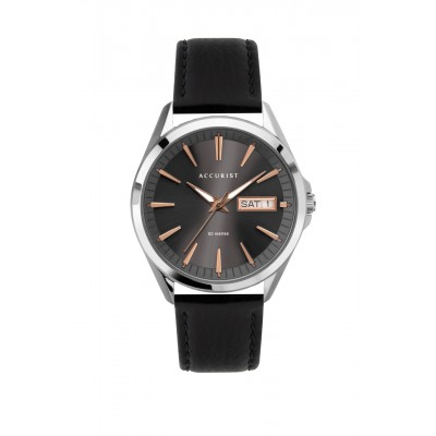 CONTEMPORARY DARK DIAL LEATHER STRAP