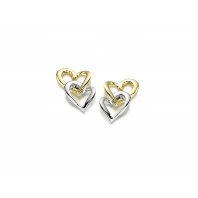 9CT YELLOW AND WHITE GOLD HAND ON HEART STUD EARRINGS