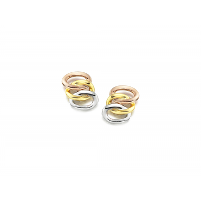 9CT ROSE, YELLOW AND WHITE GOLD RUSSIAN TRIO STUD EARRINGS