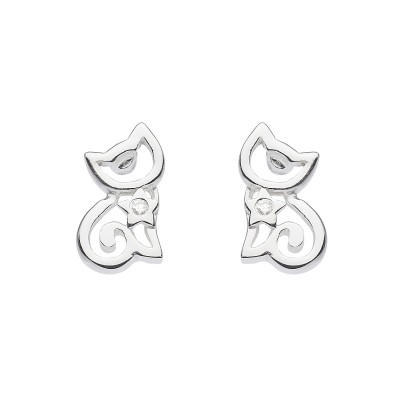 CZ OPEN CAT STUD EARRINGS