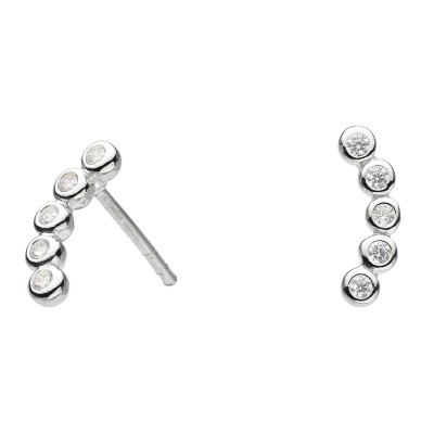 CZ CURVED STUD EARRING