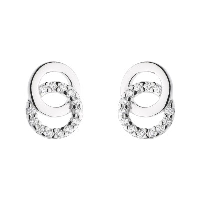 DOUBLE CZ CIRCLE STUD EARRINGS