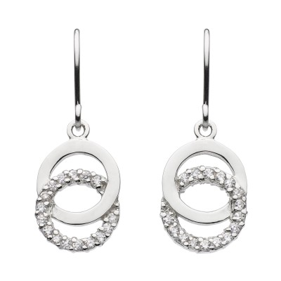 DOUBLE CZ CIRCLE DROP EARRINGS
