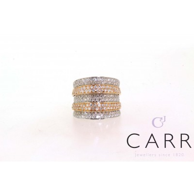ROSE AND WHITE GOLD DIAMOND PAVE BAND RING