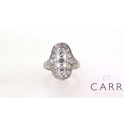 DECO ROUND BRILLIANT CUT DIAMOND RING