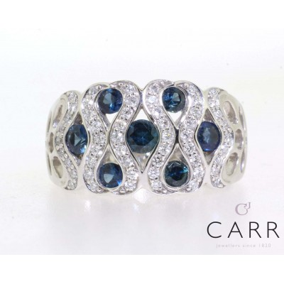 MULTI SAPPHIRE AND DIAMOND WAVE RING