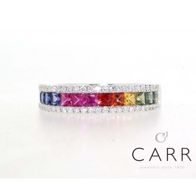 RAINBOW SAPPHIRE AND DIAMOND RING