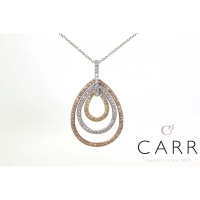 THREE TONE GOLD DIAMOND NECKLACE