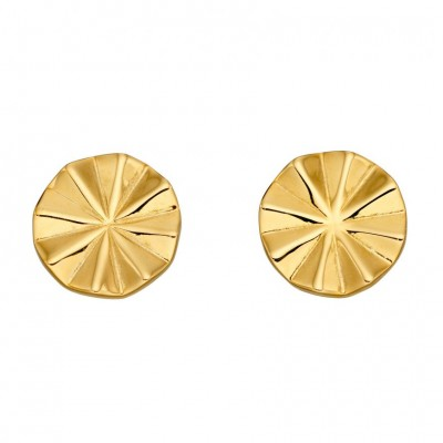 DIAMOND CUT BEVELLED GOLD PLATED STUD EARRINGS