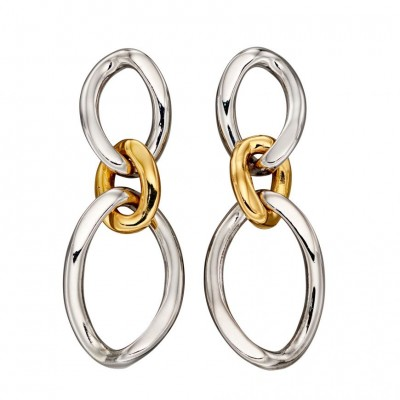 CURB LINK TWO TONE DROP EARRINGS