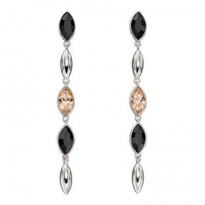 CASCADE DROP EARRINGS WITH PEACH AND BLACK CRYSTAL