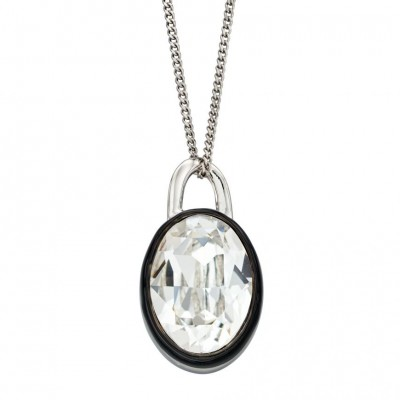CLEAR CRYSTAL NECKLACE WITH BLACK ENAMEL BORDER