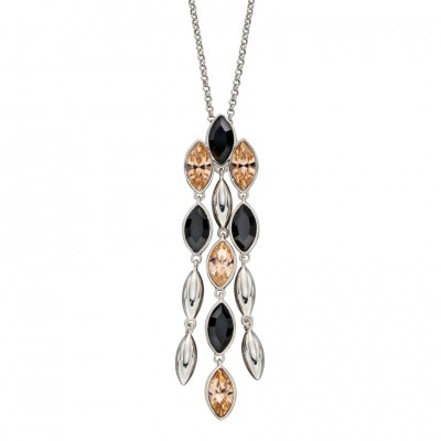CASCADE DROP NECKLACE WITH PEACH AND BLACK CRYSTAL