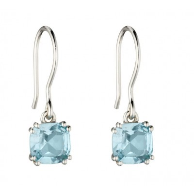 BLUE TOPAZ CUSHION DROP EARRINGS