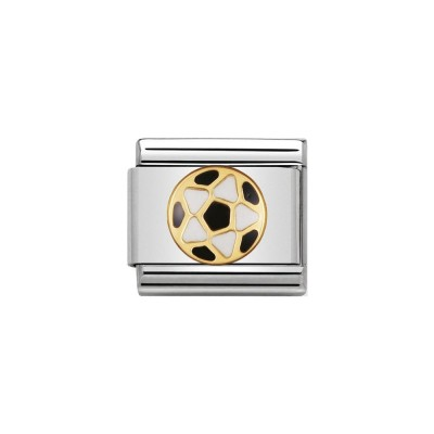 GOLD ENAMEL BLACK AND WHITE FOOTBALL CHARM