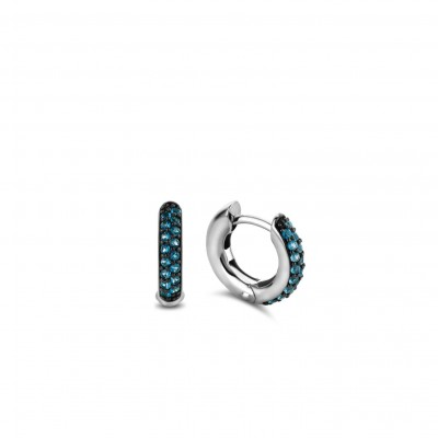 DARK BLUE PAVE HOOPS
