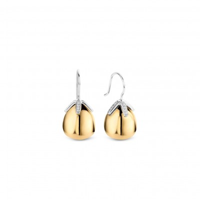 GOLD PLATE FLOWER BUD DROP EARRINGS