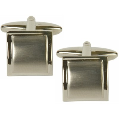 SQUARE WAVE BRUSHED CUFFLINKS