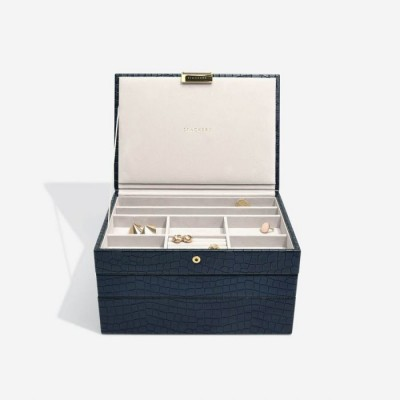 NAVY CROC CLASSIC JEWELLERY BOX