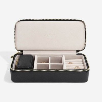 BLACK LARGE TRAVEL JEWELLERY BOX