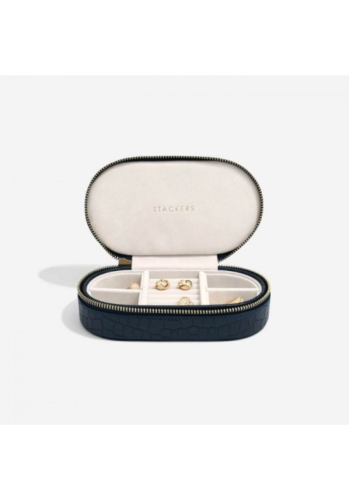 NAVY CROC OVAL TRAVEL JEWELLERY BOX
