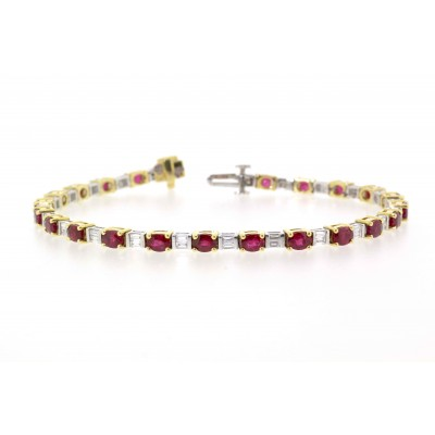 RUBY AND DIAMOND TENNIS STYLE BRACELET