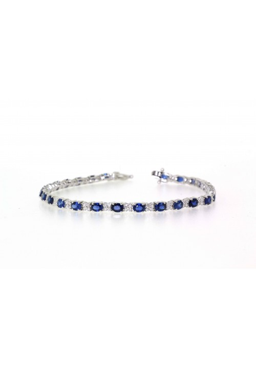 SAPPHIRE AND DIAMOND TENNIS STYLE BRACELET
