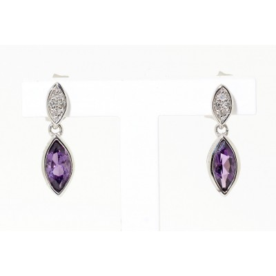 MARQUISE CUT AMETHYST AND DIAMOND STUD EARRINGS