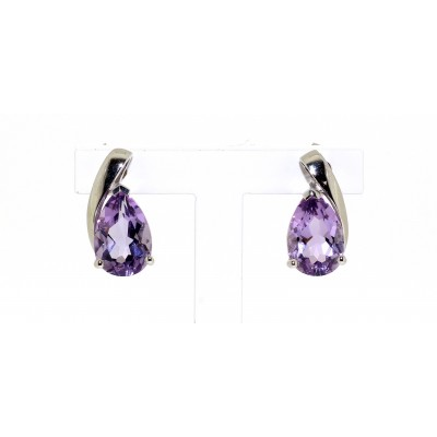 TEARDROP SHAPED AMETHYST STUD EARRINGS
