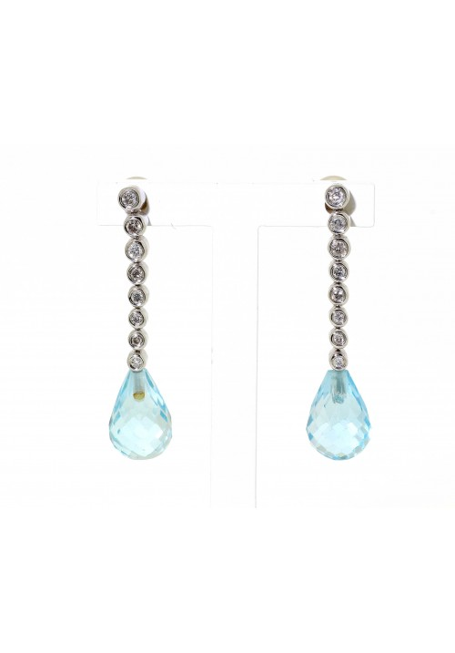 BRIOLETTE CUT BLUE TOPAZ DROP EARRINGS