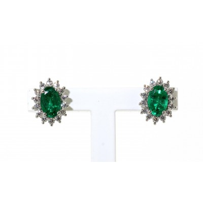 EMERALD AND DIAMOND CLUSTER EARRINGS