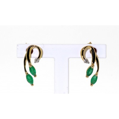 EMERALD AND DIAMOND DROP STUD EARRINGS