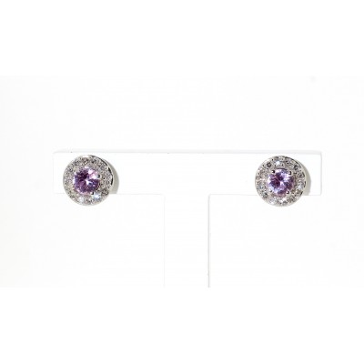 PINK SAPPHIRE AND DIAMOND HALO STUD EARRINGS